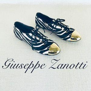 GIUSEPPE ZANOTTI PONY HAIR GOLD CAPPED OXFORD